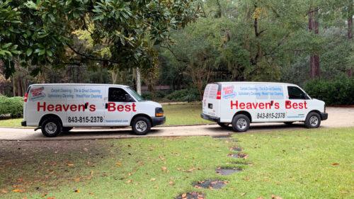 Heaven's Best Van parked in driveway.